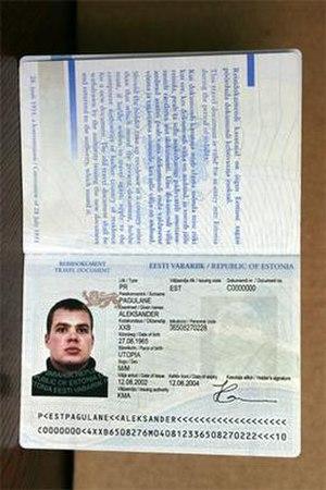 Estonian travel document for refugees - Information page of an Estonian travel document for refugees issued after 20 September 2002