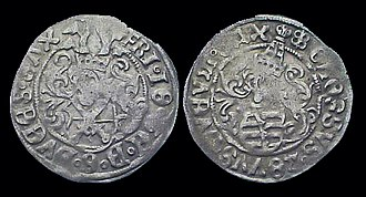 Frederick III, Elector of Saxony - Silver Saxony coin of Frederick III, known as a Groschen, minted ca. 1507–25.  Both the obverse and the reverse bear a coat of arms.