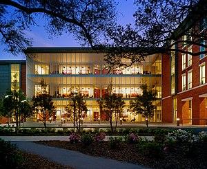 Freeman School of Business - Freeman's graduate students' building (GW II) at dusk.