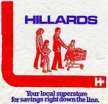 """On a white background, the name 'Hillards' in blue, upper case letters appears above a red line drawing of  a man, woman, boy and girl. The man pushes a shopping trolley filled with goods on which a young boy rides; behind stands a girl carrying a box, followed by a woman. On the left, a solid red band in an 'L' shape extends beneath the line drawing. Beneath the 'L' shaped band, in a blue serif font, is the text, ""Your local superstore for savings right down the line."""""