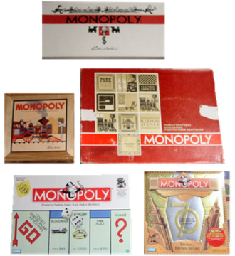 History of the board game Monopoly - The five sets of the board game Monopoly depicted here show the evolution of the game's artwork and designs in the United States from 1935 to 2005.