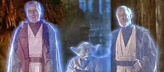 """The Force - The Force allows (from left) Anakin Skywalker (Sebastian Shaw), Yoda, and Obi-Wan Kenobi (Alec Guinness) to appear as """"ghosts"""" in Return of the Jedi (1983)."""