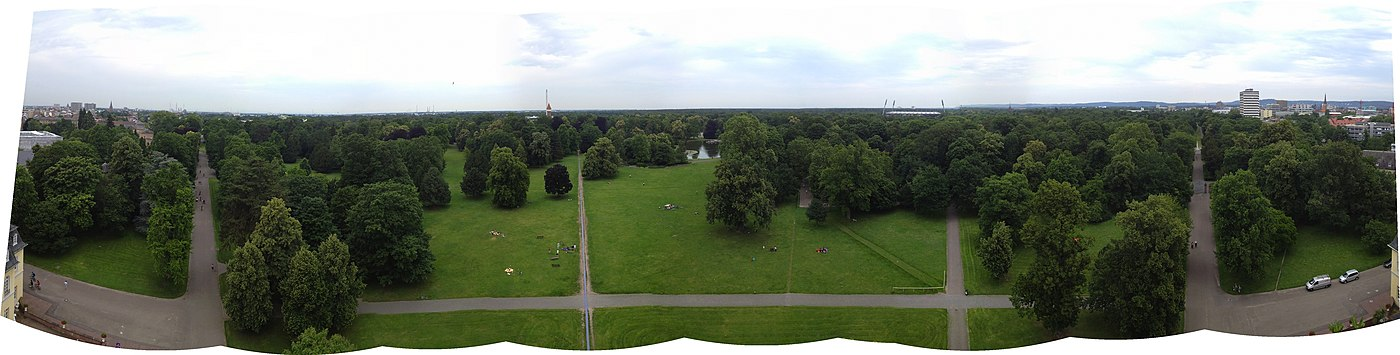 180-degree panorama from atop the palace tower, facing north. - Karlsruhe