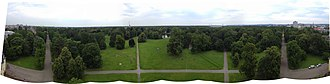 Karlsruhe - A 180-degree panorama from atop the palace tower, facing north