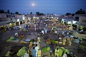 Farmers' market - A farmers' market in Layyah, Pakistan at twilight