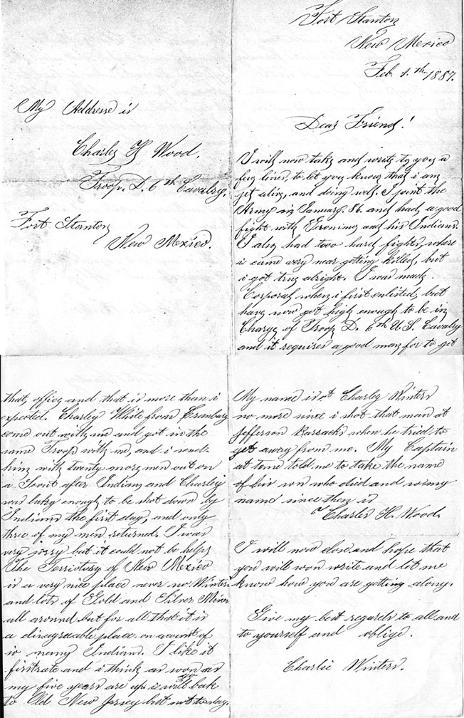 Letter from Commander Charlie Winters 1887