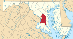 Location of Prince George's County in Maryland