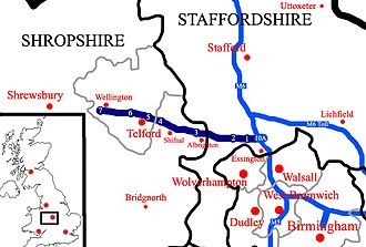 M54 motorway - A map showing the M54 (dark blue) in relation to other motorways (light blue), shown within the ceremonial counties of Shropshire, Staffordshire and West Midlands. Area highlighted within UK on the left.
