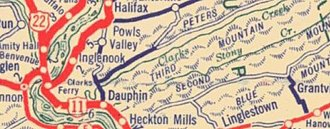 Dauphin, Pennsylvania - Early road map showing Dauphin Borough and surrounding mountains
