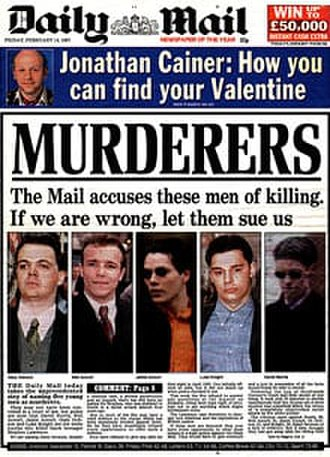 Murder of Stephen Lawrence - Image: Murderers (Daily Mail, 1997)
