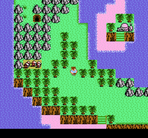 """StarTropics - An overhead view of Mike's starting location in StarTropics, C-island, so named due to its resemblance to the letter """"C""""."""
