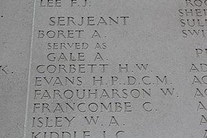 Harold Corbett - Roll of honour, Australian National Memorial, Villers-Bretonneux cemetery