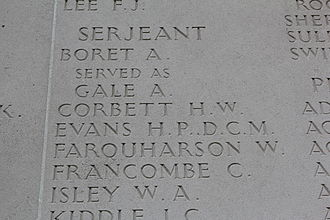 Harold Corbett - Roll of honour, Australian National Memorial, Villers-Bretonneux cemetery