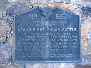"Battle Creek massacre - ""The first battle between Indians and the Utah Pioneers occurred...between the Deseret Militia and the Indians..."""