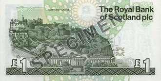 The Royal Bank of Scotland £1 note - Image: RBS Ilay £1 back