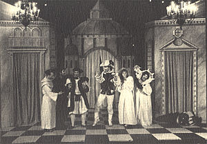 The Mandrake - The Mandrake, with Tom Hanks as Callimaco (center), in the Riverside Shakespeare Company production in New York, 1979.