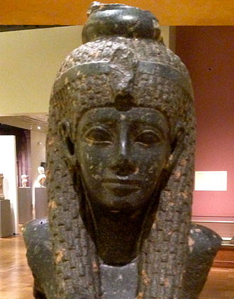 Bust of Cleopatra - A close-up picture of the round facial and neckline features of the statue