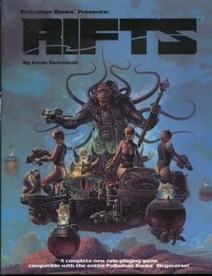 Rifts (role-playing game) - Cover of the first edition Rifts core rulebook, illustrated by Keith Parkinson, depicting a Splugorth slave barge.