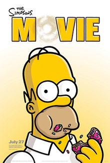"Film poster showing five people standing of the roof of a house on fire. From left to right: a girl stands purposefully looking into the distance, a woman looks shocked, a man, holding a pig under his arm, holds a giant donut in the air to complete the text ""The Simpsons Movie"" above him. A baby lies underneath his legs, a boy with a slingshot to his left."