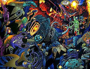 Sinestro Corps - The Sinestro Corps gathers on Qward.
