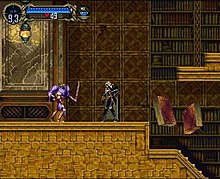 A screenshot, showing the player encountering a headless knight and two flying, large books, in a library area.