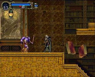 Castlevania: Symphony of the Night - Gameplay in Castlevania: Symphony of the Night, with Alucard, the primary character, in the center