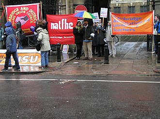 Banner - Banners of AUT, NATFHE, Cambridge TUC and Cambridge University Students' Union.