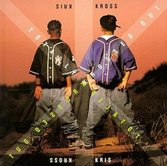 Kris Kross - Cover art for Totally Krossed Out, the debut album of Kris Kross. Kelly on the left, Smith on the right.