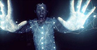 Waiting for the End - A screenshot of the music video, showing lead singer Chester Bennington being applied with digital effects.