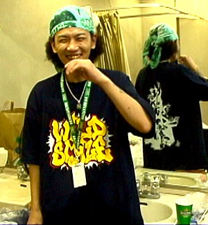 Japanese hip hop - Japanese Hip-Hop fan wearing Wild Style T-shirt in Yoyogi park