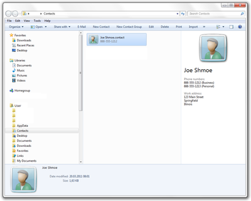 Contacts folder inside Windows Explorer in Windows 7, showing example contacts.