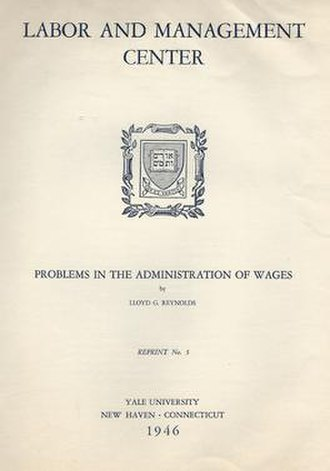 Yale Labor and Management Center - Cover of a publication