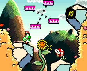 Yoshi's Island - Yoshi aims an egg at a Piranha Plant. The timer in the top right corner will count down if Mario falls off his back. The game has a hand-drawn, paper-and-crayon aesthetic.