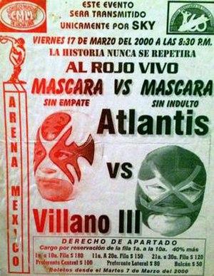 Juicio Final (2000) - Official poster for the show depicting Villano III and Atlantis