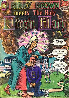 A comic book cover.  The Virgin Mary stands over a kneeling boy who covers his groin with his hands.
