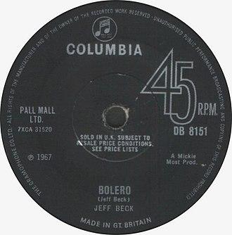 Beck's Bolero - Image: Bolero (Jeff Beck) UK single cover