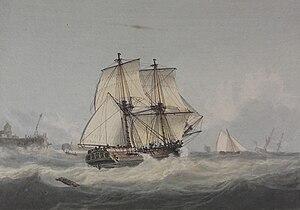 Samuel Atkins - Image: Brig in a breeze off a harbor