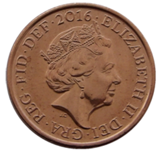 Penny (British decimal coin) - Image: British one penny coin 2016 obverse
