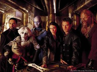Farscape - From left to right: Bialar Crais, Rygel XVI (front), Chiana, Zhaan, Aeryn Sun, John Crichton, Ka D'Argo.
