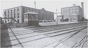 Furness Railway - Cornmill Crossing in 1895, a former railway goods depot on the Furness Railway line sited near Barrow Docks