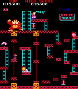 Platform game - A Donkey Kong (1981) level demonstrates extensive jumping between platforms, the genre's defining trait.