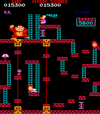 Platform game - This Donkey Kong (1981) level demonstrates extensive jumping between platforms, the genre's defining trait.