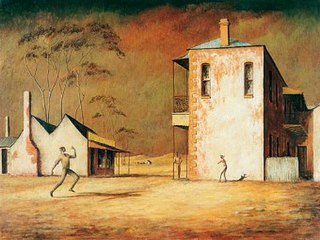 <i>The cricketers</i> painting by Russell Drysdale