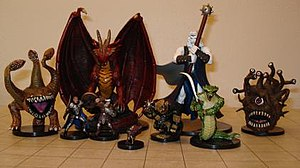 Dungeons dragons wikipedia dungeons dragons miniature figures the grid mat underneath uses one inch squares gumiabroncs