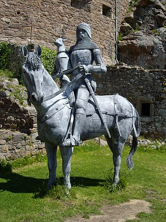 Hugh Calveley - Modern equestrian statue of Sir Hugh Calveley at Mont Orgueil Castle, Jersey. Atop his helm is the canting crest of Calveley: A calf's head sable crowned argent