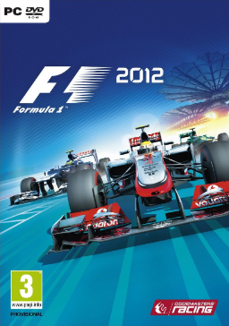 F1 2012 (video game) - Cover art for PC version showing Lewis Hamilton in the foreground and Bruno Senna with Vitaly Petrov in the background