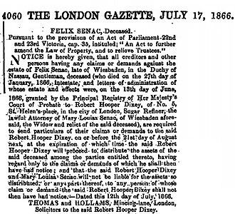 Henry Hotze - Newspaper entry from 1866 on the death of Felix Senac in Wiesbaden, Germany