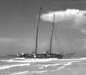 1941 Florida hurricane - A Cuban schooner washed ashore by the storm.