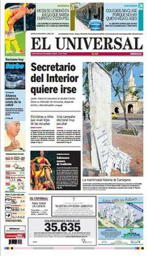 El Universal (Cartagena) - Image: Front page of El Universal
