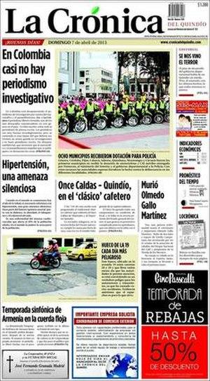 La Crónica del Quindío - Image: Front page of La Crónica del Quindío, 7 April 2007